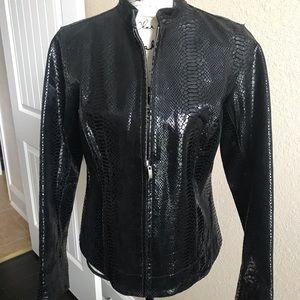 Chico's Black Leather Blazer